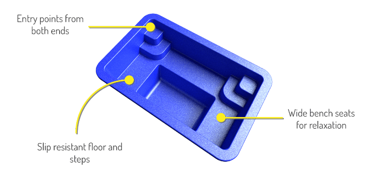 X-Trainer fibreglass spa 3D
